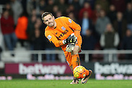 Goalkeeper Jack Butland of Stoke City in action, Barclays Premier league match, West Ham Utd v Stoke city at the Boleyn Ground, Upton Park  in London on Saturday 12th December 2015.<br /> pic by John Patrick Fletcher, Andrew Orchard sports photography.