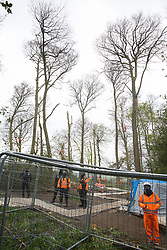 Wendover, UK. 28th April, 2021. Security guards stand behind fencing as tree surgeons fell trees for the HS2 high-speed rail link in ancient woodland at Jones Hill Wood in the Chilterns AONB. Felling of the woodland which contains resting places and/or breeding sites for pipistrelle, barbastelle, noctule, brown long-eared and natterer's bats has recommenced after a High Court judge yesterday refused campaigner Mark Keir permission to apply for judicial review and lifted an injunction on felling.