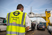 A member of staff on the Woolwich Ferry watches as traffic boards the Woolwich Ferry on the River Thames on October 05, 2018 in London, England on the final day of operation with the old boats.  The Woolwich ferry river crossing service closes from Saturday 6th October until the end of the year to allow new pontoons to be constructed for new boats and the ferry is planned to resume at the end of the year.