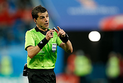 July 10, 2018 - SãO Petersburgo, Rússia - SÃO PETERSBURGO, MO - 10.07.2018: FRANÇA X BÉLGICA - The referee Andres Cunha during a match between France and Belgium is valid for the semi final of the 2018 World Cup held at the Krestovsky Stadium in St Petersburg, Russia. (Credit Image: © Marcelo Machado De Melo/Fotoarena via ZUMA Press)