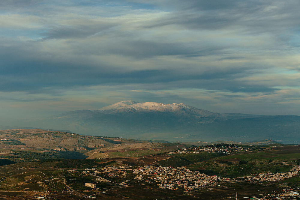A general view of Mount Hermon in the Israeli-occupied Golan Heights, and villages of the Upper Galilee region, as seen from Mount Meron in northern Israel, on February 27, 2020.