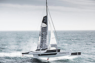 The Lending Club2.,Co-skippers Renaud Laplanche and Ryan Breymaier shown here setting a new speed sailing record onboard maxi trimaran Lending Club 2 from Cowes, UK to Dinard, France. The new time, to be ratified by the WSSRC, takes 9 minutes and 25 seconds off the previous record.<br /> Credit - Lloyd Images