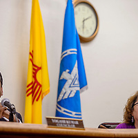 City councilors Yogash Kumar, left, and Linda Garcia listen to comments during a city council meeting at City Hall Tuesday.