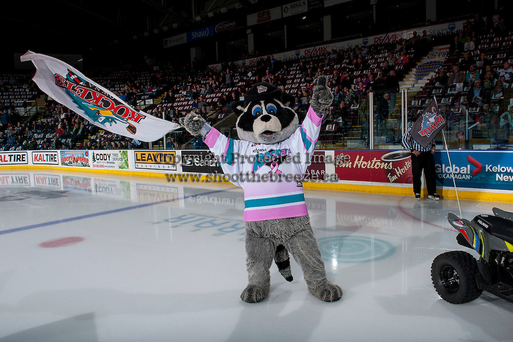 KELOWNA, CANADA - FEBRUARY 10: against the Kelowna Rockets' mascot Rocky Racoon stands on the ice at the start of the game against the Vancouver Giants on February 10, 2017 at Prospera Place in Kelowna, British Columbia, Canada.  (Photo by Marissa Baecker/Shoot the Breeze)  *** Local Caption ***