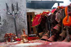 Shiva alter outside a temple in Muktinath while on Motorcycle Sherpa's Ride to the Heavens motorcycle adventure in the Himalayas of Nepal. On the fourth day of riding, we went from Kalopani to Muktinath. Thursday, November 7, 2019. Photography ©2019 Michael Lichter.