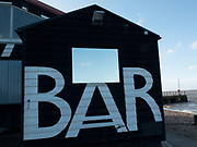 Beach hut bar in Whitstable, United Kingdom. Whitstable is a seaside town on the north coast of Kent in south-east England. Whitstable is famous for oysters, which have been collected in the area since Roman times and are celebrated at the annual Whitstable Oyster Festival.