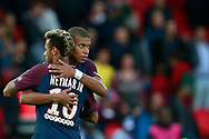 Paris Saint Germain's Brazilian forward Neymar Jr salutes Paris Saint Germain's French forward Kylian Mbappe during the French Championship Ligue 1 football match between Paris Saint-Germain and Girondins de Bordeaux on September 30, 2017 at the Parc des Princes stadium in Paris, France - Photo Benjamin Cremel / ProSportsImages / DPPI