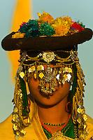 Woman in ornate costume, Jaisalmer Desert Festival, Sam Sand Dunes, near Jaisalmer, Rajasthan, India