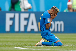 SAINT PETERSBURG, June 22, 2018  Neymar of Brazil kneels on the pitch and cries after the 2018 FIFA World Cup Group E match between Brazil and Costa Rica in Saint Petersburg, Russia, June 22, 2018. Brazil won 2-0. (Credit Image: © Cao Can/Xinhua via ZUMA Wire)