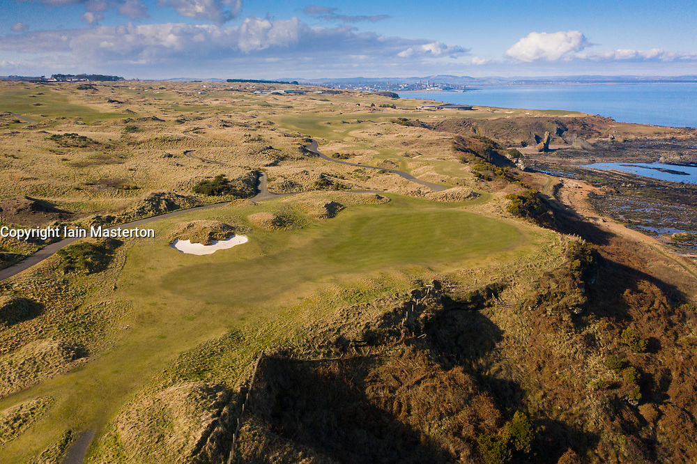 Aerial view of the Castle Course golf course  at St Andrews Links in St Andrews, Fife, Scotland , UK