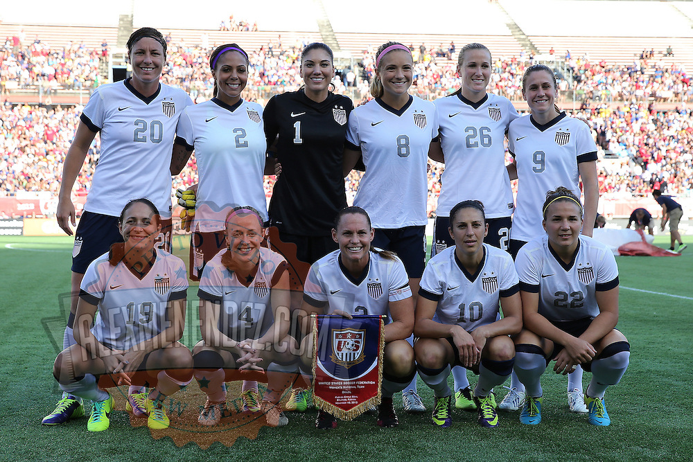 The starting 11 for the U.S. Womens National team prior to a women's soccer International friendly match between Brazil and the United States National Team, at the Florida Citrus Bowl on Sunday, November 10, 2013 in Orlando, Florida. Starting  from left, front row, Stephanie Cox, Becky Sauerbrunn (4), Christie Rampone (3), Carli Lloyd (10), Amber Brooks (22), back row standing, Abby Wambach (20), Sydney Leroux (2), Hope Solo (1), Kristie Mewis (8), Leigh Ann Robinson (26), and Heather O'Reilly (9).  The U.S won the game by a score of 4-1.  (AP Photo/Alex Menendez)