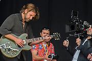 Bradley Cooper films a scene as Kris Kristofferson on the Pyuramid Stage - The 2017 Glastonbury Festival, Worthy Farm. Glastonbury, 23 June 2017
