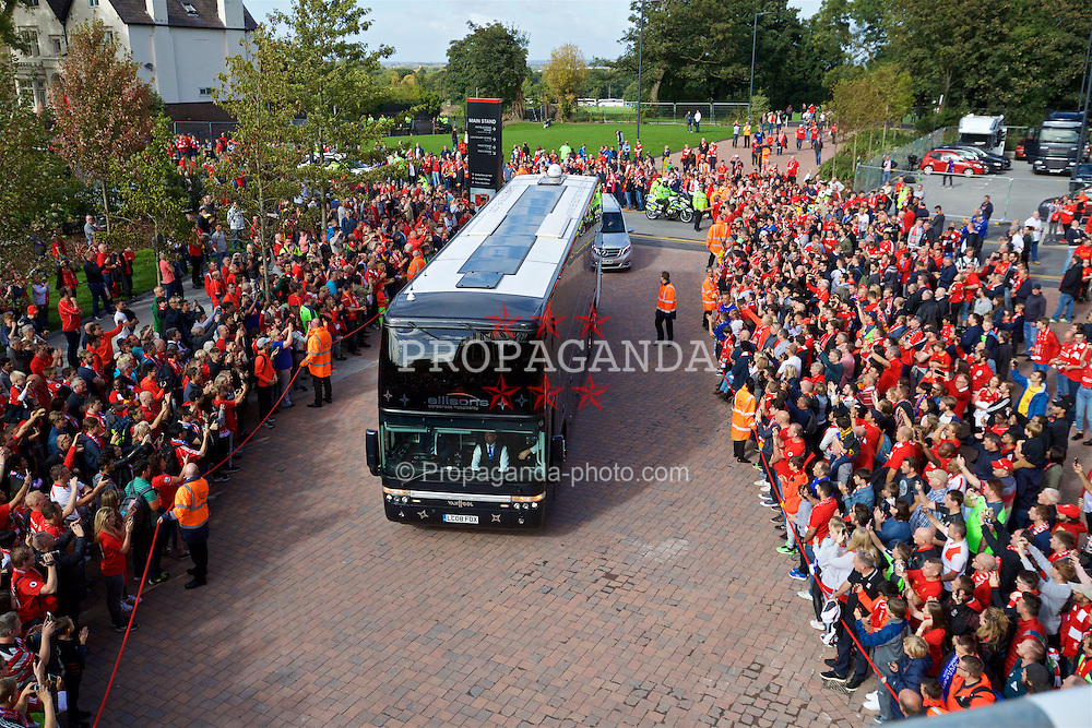 LIVERPOOL, ENGLAND - Saturday, September 10, 2016: The Leicester City team bus arrives before the FA Premier League match against Liverpool at Anfield. (Pic by David Rawcliffe/Propaganda)