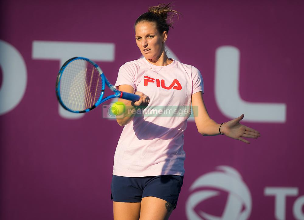 February 12, 2019 - Doha, QATAR - KAROLINA PLISKOVA of the Czech Republic practices at the 2019 Qatar Total Open WTA Premier tennis tournament in Doha.  (Credit Image: © AFP7 via ZUMA Wire)