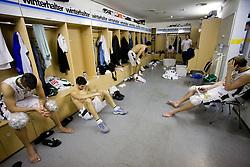 Players of Union Olimpija dissapointed in the wardroom after the Euroleague basketball match between KK Union Olimpija, Ljubljana and Maroussi B.C., Athens, on October 29, 2009, in Arena Tivoli, Ljubljana, Slovenia.  (Photo by Vid Ponikvar / Sportida)