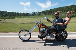 Heather and Chris Callen on the Annual Cycle Source and Michael Lichter Rides (combined this year) left from the new Broken Spoke area of the Iron Horse Saloon during the Sturgis Black Hills Motorcycle Rally. SD, USA.  Wednesday, August 10, 2016.  Photography ©2016 Michael Lichter.