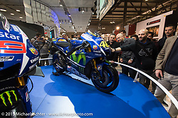 The Yamaha display at EICMA, the largest international motorcycle exhibition in the world. Milan, Italy. November 18, 2015.  Photography ©2015 Michael Lichter.