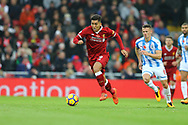 Roberto Firmino of Liverpool makes a break. Premier League match, Liverpool v Huddersfield Town at the Anfield stadium in Liverpool, Merseyside on Saturday 28th October 2017.<br /> pic by Chris Stading, Andrew Orchard sports photography.