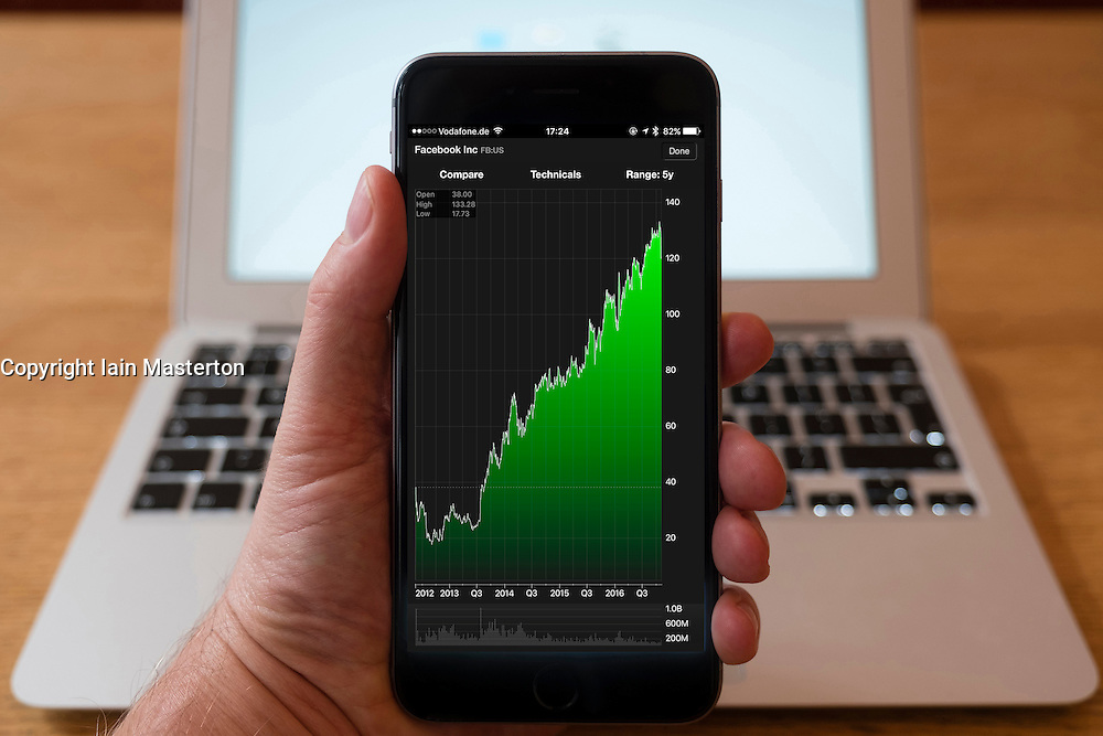 Using iPhone smartphone to display stock market performance chart for Facebook company