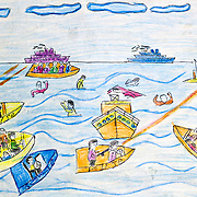 One of the winning entries to a painting competition organised by YAPD, a local Egyptian partner of Save the Children (UK). YAPD works with communities close to Alexandria whose children participate in 'irregular migration' to Europe. The competition was designed to raise awareness of the risks involved and promote consideration of alternatives.