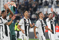 September 26, 2018 - Turin, Piedmont, Italy - Juventus FC players celebrate the victory during the Serie A football match between Juventus FC and Bologna FC at Allianz Stadium on September 26, 2018 in Turin, Italy. .Juventus won 2-0 over Bologna. (Credit Image: © Massimiliano Ferraro/NurPhoto/ZUMA Press)