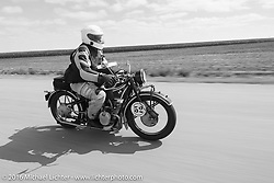 Darryl Richman riding his 1928 BMW R52 during Stage 8 of the Motorcycle Cannonball Cross-Country Endurance Run, which on this day ran from Junction City, KS to Burlington, CO., USA. Saturday, September 13, 2014.  Photography ©2014 Michael Lichter.