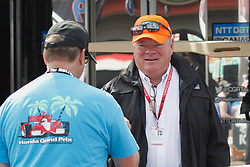 September 14, 2018 - Sonoma, CA, U.S. - SONOMA, CA - SEPTEMBER 14: Owner Chip Ganassi chats with a fan in the paddoci during the Verizon IndyCar Series practice for the Grand Prix of Sonoma on September 14, 2018, at Sonoma Raceway in Sonoma, CA. (Photo by Larry Placido/Icon Sportswire) (Credit Image: © Larry Placido/Icon SMI via ZUMA Press)