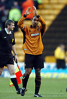 Photo. Matthew Lewis.<br /> Wolverhampton Wanderers v West Ham United. FA Cup 4th Round. 25/01/2004.<br /> <br /> Wolves' Paul Ince applauds the fans, after losing to West Ham United.