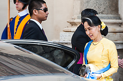 NO FRANCE - NO SWITZERLAND: May 4, 2017 : State Counsellor and Union Minister for Foreign Affairs of the Republic of the Union of Myanmar Aung San Suu Kyi leaves the Vatican after a private audience.