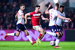 Callum O'Dowda of Bristol City is marked by Mark Little of Bolton Wanderers and Mark Beevers of Bolton Wanderers Marlon Pack of Bristol City is marked by - Mandatory by-line: Ryan Hiscott/JMP - 25/01/2019 - FOOTBALL - Ashton Gate Stadium - Bristol, England - Bristol City v Bolton Wanderers - Emirates FA Cup fourth round