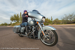 Jeri Buckingham riding to Craig Gacom's Rusty Ranch on Thursday of Arizona Bike Week 2014. USA. April 4, 2014.  Photography ©2014 Michael Lichter.