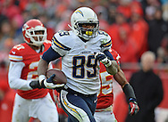 KANSAS CITY, MO - NOVEMBER 24:  Tight end Ladarius Green #89 of the San Diego Chargers scores on a 60-yard touchdown pass against the Kansas City Chiefs during the second half on November 24, 2013 at Arrowhead Stadium in Kansas City, Missouri.  San Diego won 41-38. (Photo by Peter Aiken/Getty Images) *** Local Caption *** Ladarius Green