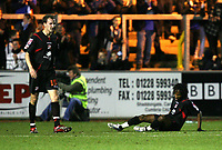Photo: Paul Greenwood/Sportsbeat Images.<br />Carlisle United v Swindon Town. Coca Cola League 1. Reaction from Andy Nicolas (L) and Miguel Comminges