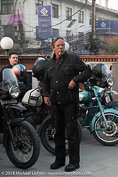 Round the World Doug Wothke on the first morning of our Himalayan Heroes adventure before riding out from Kathmandu, Nepal. Tuesday, November 6, 2018. Photography ©2018 Michael Lichter.
