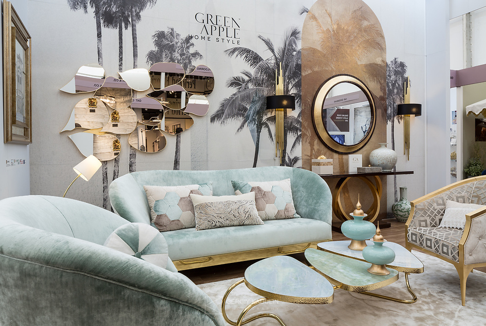 """Exhibition booth with new collection of design furniture of """"Green Apple"""" company at Decorex London - 2017."""