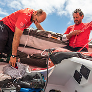 Leg 02, Lisbon to Cape Town, day 13, on board MAPFRE, Xabi Fernandez and Joan Vila after moving sails. Photo by Ugo Fonolla/Volvo Ocean Race. 17 November, 2017