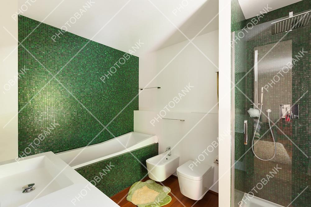 Interior, modern apartment, bathroom with shower