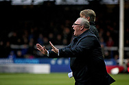 Peterborough United manager Steve Evans telling his team to calm down during  the The FA Cup 2nd round match between Peterborough United and Bradford City at London Road, Peterborough, England on 1 December 2018.