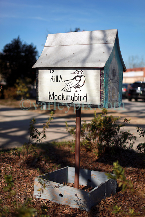 05 February 2015. Monroeville, Alabama.<br /> On the trail of Harper Lee's 'To Kill a Mocking Bird.'<br /> A decorative bird box outside the old courthouse whose courtroom was a model for the movie. The building is now the Monroe County Museum at the center of the old town. <br /> Photo; Charlie Varley/varleypix.com