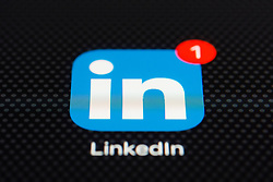 LinkedIn business networking app close up on iPhone smart phone screen