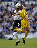 Fotball<br /> England 2004/2005<br /> Foto: SBI/Digitalsport<br /> NORWAY ONLY<br /> <br /> Derby County v Preston North End<br /> <br /> 19/05/2005.<br /> Coca-Cola Championship Play Offs, Second Leg. <br /> <br /> Derby's Adam Bolder (L) goes up for a header with Eddie Lewis