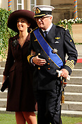 Religious wedding of Grand Duke Guillaume and Princess Stephanie at the Cathedral Notre-Dame in Luxembourg <br /> <br /> On the photo:  Prince Laurent and Princess Claire of Belgium