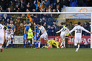 Wolverhampton Wanderers defender Matt Doherty (2) scores and celebrates the equaliser for the visitors in injury time during the The FA Cup fourth round match between Shrewsbury Town and Wolverhampton Wanderers at Greenhous Meadow, Shrewsbury, England on 26 January 2019.