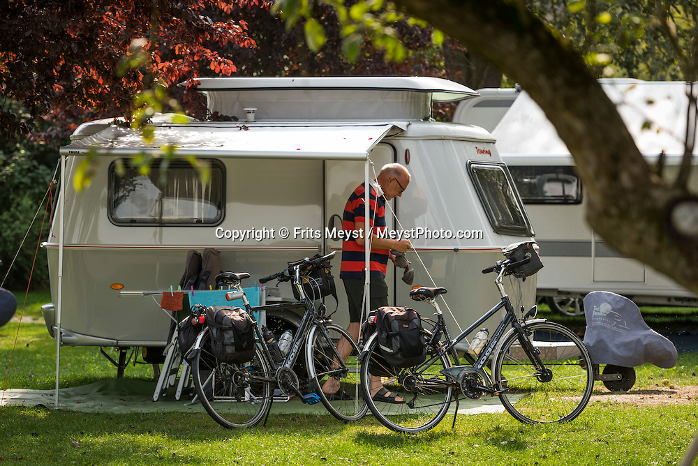 Schonbuhel an der Donau, Danube, Lower Austria, September 2015.  Gasthof-Camping Familie Stumpfer in Schönbühel an der Donau. Austria's most spectacular section of the Danube is the dramatic stretch of river between Krems an der Donau and Melk, known as the Wachau. Here the landscape is characterised by vineyards, forested slopes, wine-producing villages and imposing fortresses at nearly every bend. The Wachau is today a Unesco World Heritage site, due to its harmonious blend of natural and cultural beauty. Photo by Frits Meyst / MeystPhoto.com