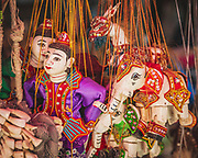 """Traditional marionettes in Myanmar, known locally as """"yoke thé"""". Used for opera performances and originally with royal patronage. These Burmese puppets are very intricate with about 18 or 19 different wires to control the characters."""