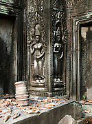 Bas relief carvings at Ta Prohm temple at Angkor, Siem Reap Province, Cambodia