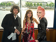 MALCOLM VENVILLE, DAISY BATES AND PAM HOGG, Marriage of Tim Nobkle and Sue Webster conducted by Tracey Emin. Queen Elizabeth. Thames. London. 7 June 2008 *** Local Caption *** -DO NOT ARCHIVE-© Copyright Photograph by Dafydd Jones. 248 Clapham Rd. London SW9 0PZ. Tel 0207 820 0771. www.dafjones.com.