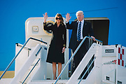 U.S. President Donald Trump, right, and his wife Melania disembark from Air Force One at Fiumicino international airport. Rome 23 May 2017. Christian Mantuano / OneShot