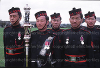 Gurkha soldiers on parade during their Centenary celebrations at Church Crookham, UK in 1986. Photograph by Terry Fincher