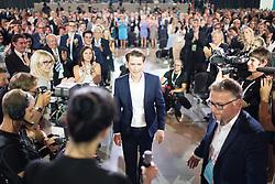 """01.07.2017, Design Center, Linz, AUT, ÖVP, 38. ordentlicher Bundesparteitag, mit Wahl von Bundesminister Kurz zum neuen Bundesparteiobmann, unter dem Motto """"Zeit für Neues - Zusammen neue Wege gehen"""". im Bild mit 98,7 % der neugewählte Parteiobmann Sebastian Kurz // Austrian Foreign Minister Sebastian Kurz during political convention of the Austrian People' s Party with election of Sebastian Kurz as the new party leader at Design Centre in Linz, Austria on 2017/07/01. EXPA Pictures © 2017, PhotoCredit: EXPA/ Michael Gruber"""